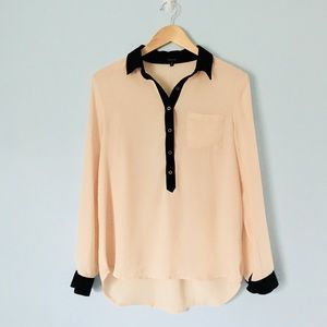 NWOT Blush Flowy Blouse with Roll-up Sleeve